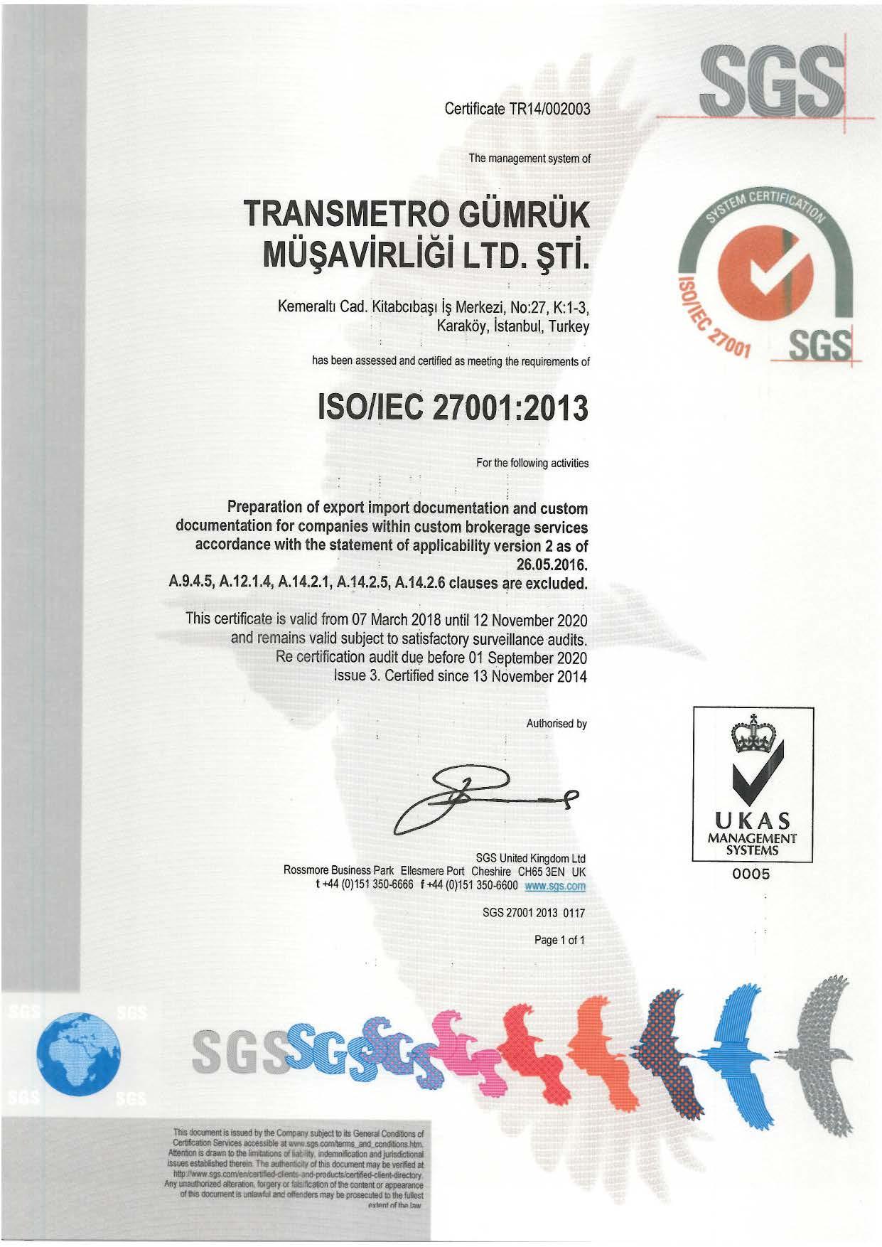 TRANSMETRO ISO 27001 2013 UKAS